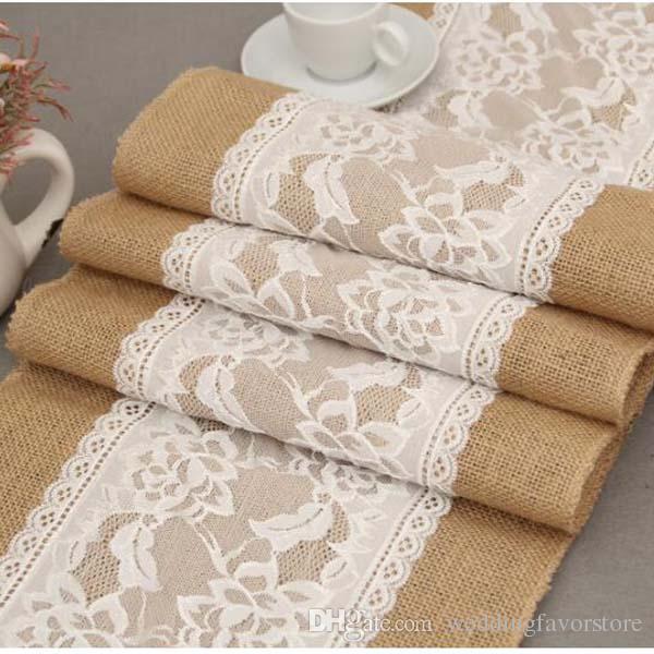 5pcs 30cm * 275cm Vintage Burlap Lace Hessian Table Runner Natural Jute Pastoral Style Wedding Home Party Decoration