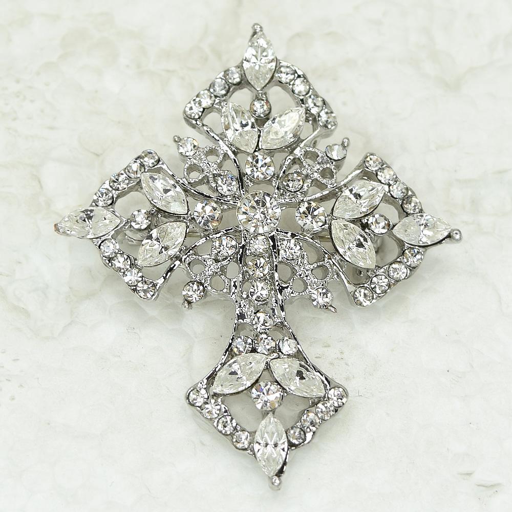 12 unids / lote venta al por mayor Marquise Crystal Rhinestone cruz broches moda traje Pin Broche colgante C325
