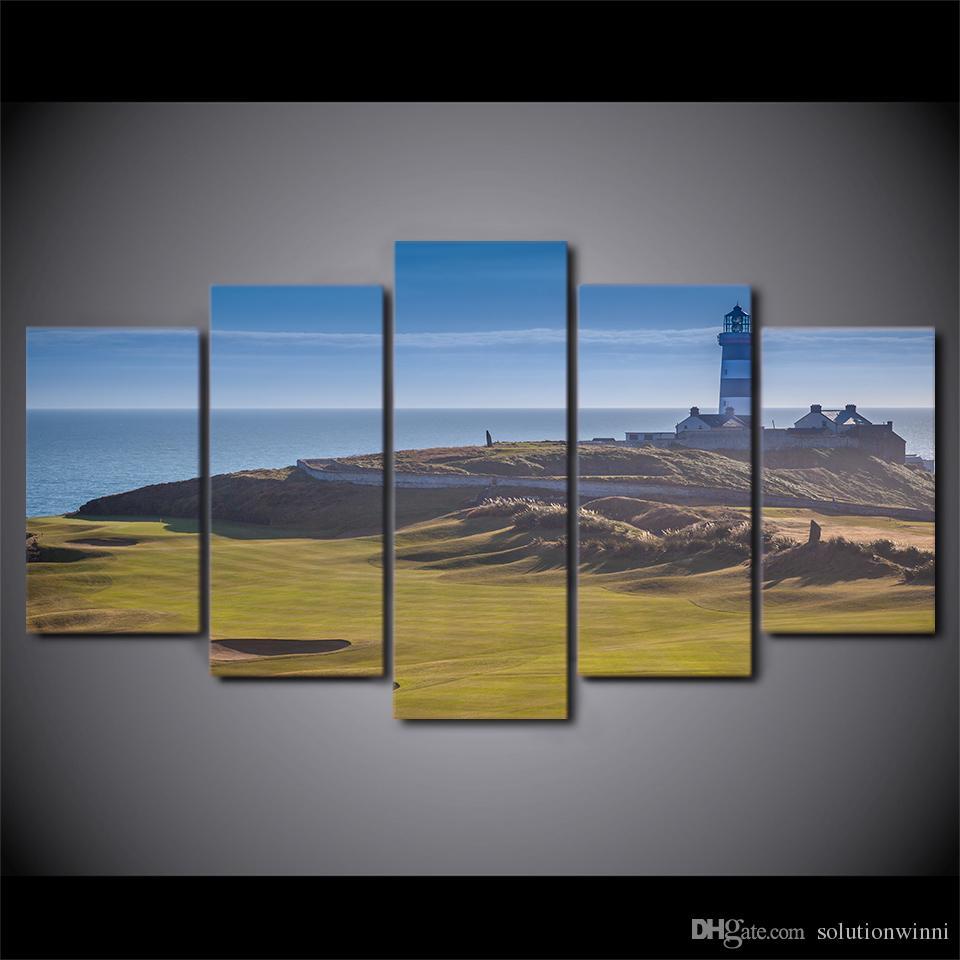 5 sztuk Drukowane Pole Golfowe Malowanie Wzgórza Sportowe Poster Nowoczesne Dekoracje Ścienne Wydrukuj Produkcja Płótno Wall Picture