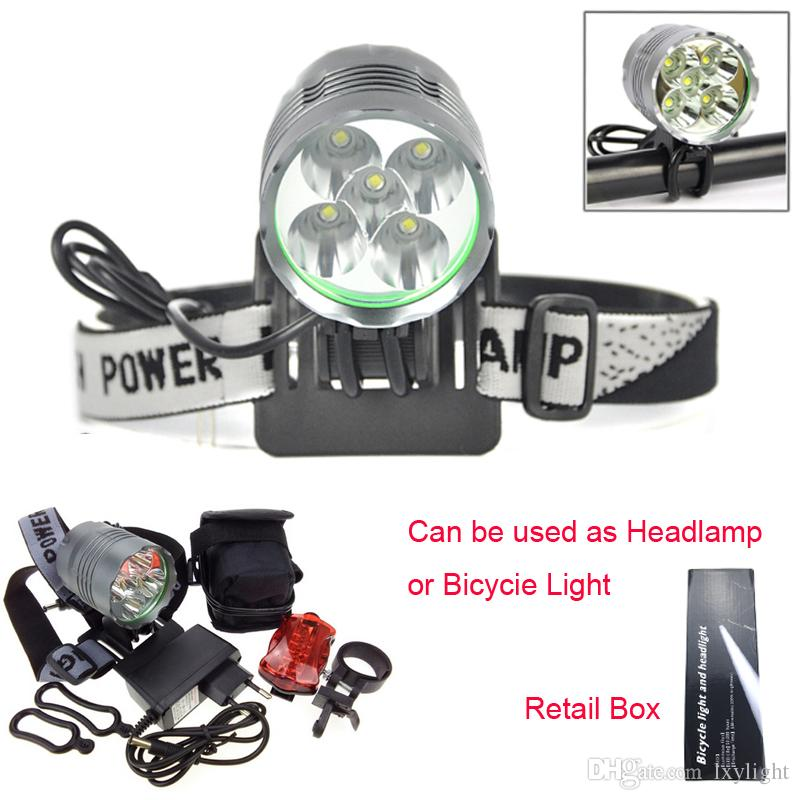 8000 Lumen 5T6 Cycling Headlight LED Bike Bicycle Light Headlamps Aluminum alloy Waterproof + Rear Light + Charger