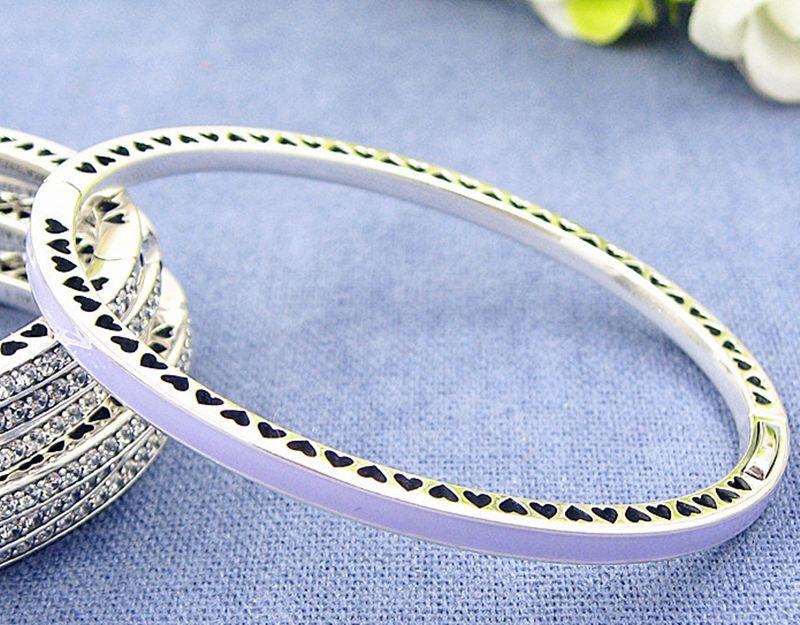 Braccialetto da braccialetto radiante in argento sterling in argento sterling 925 di alta qualità con smalto viola chiaro cz per charms in stile Pandora europeo e perline