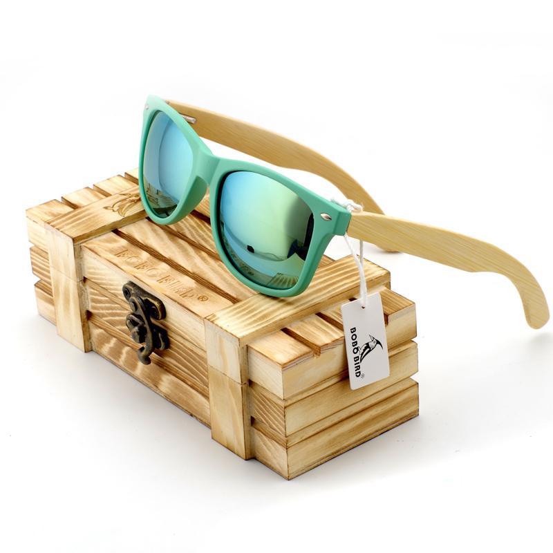 BOBO BIRD Bambu Legs dos homens de Madeira Polarizada Titular Óculos de Sol Com Caixa De Madeira de Varejo de Moda Óculos De Sol para Homens e Mulheres 2017