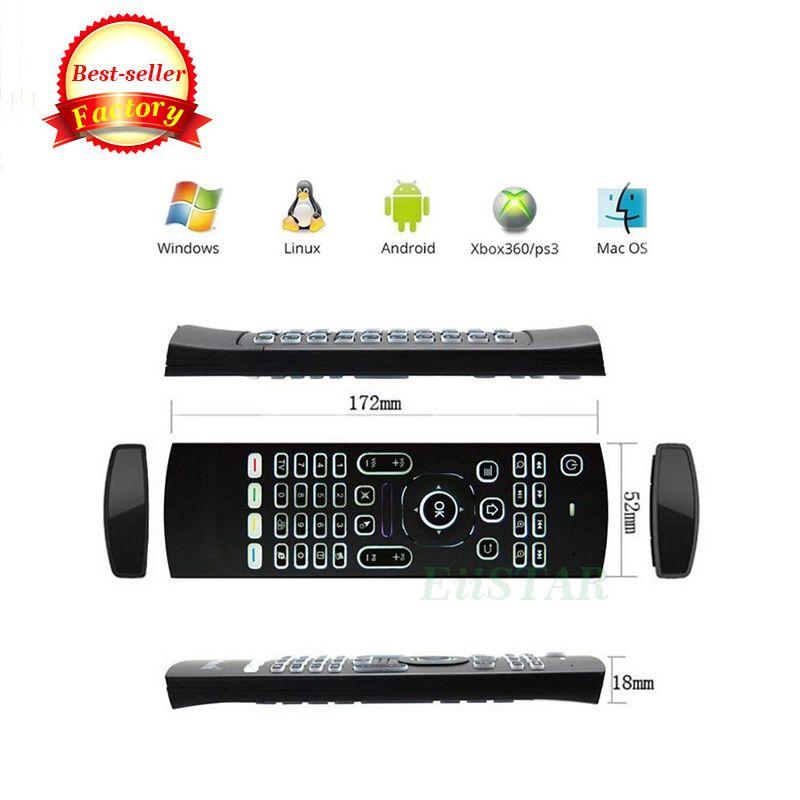 Aydınlatmalı MX3 Mini Klavye IR Öğrenme Ile Qwerty 2.4G Kablosuz Uzaktan Kumanda Android Için 6 Eksen Fly Air Fare Gampad Kutuları Mini PC