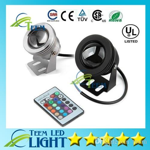 IP65 10W RGB Floodlight light Underwater LED Flood Lights Swimming Pool Outdoor Waterproof floodlights lighting Round DC 12V Convex Lens 30