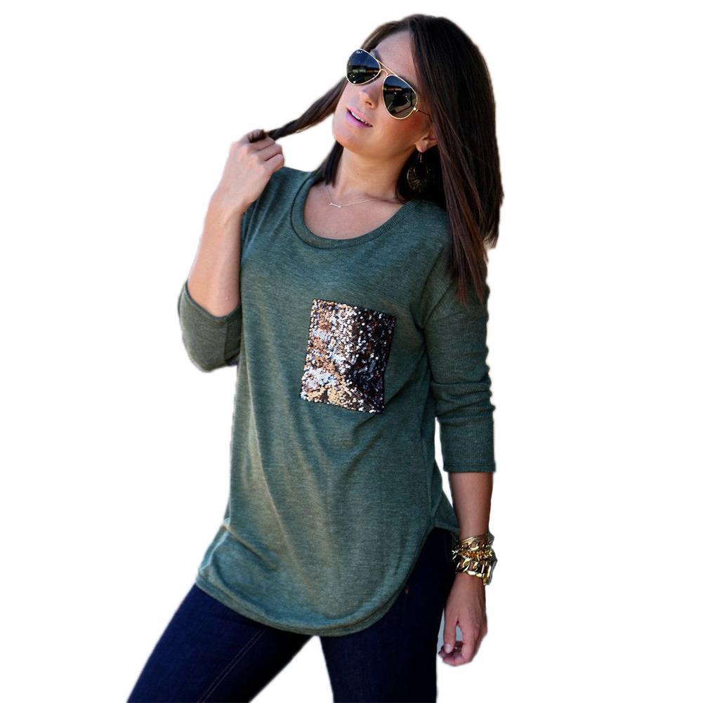 Toptan-2016 Yeni Moda Uzun Kollu T Gömlek Kadın Punk Sequins Cep Casual Tee Pamuk Camisetas Femininas Tops Tshirt