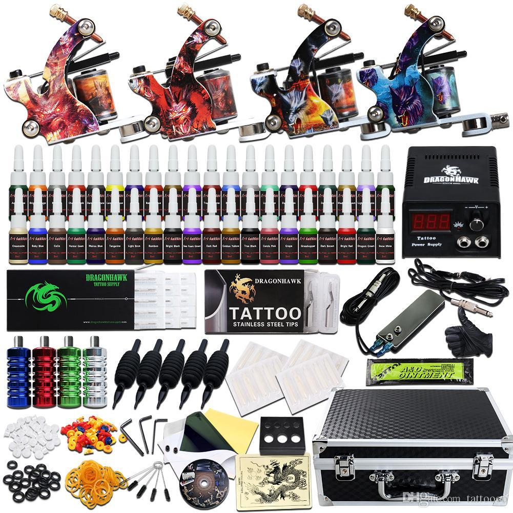 Kit complet de tatouage 4 Mitrailleuses 40 encres LCD Alimentation Aiguilles Conseils Carry Case D120GD
