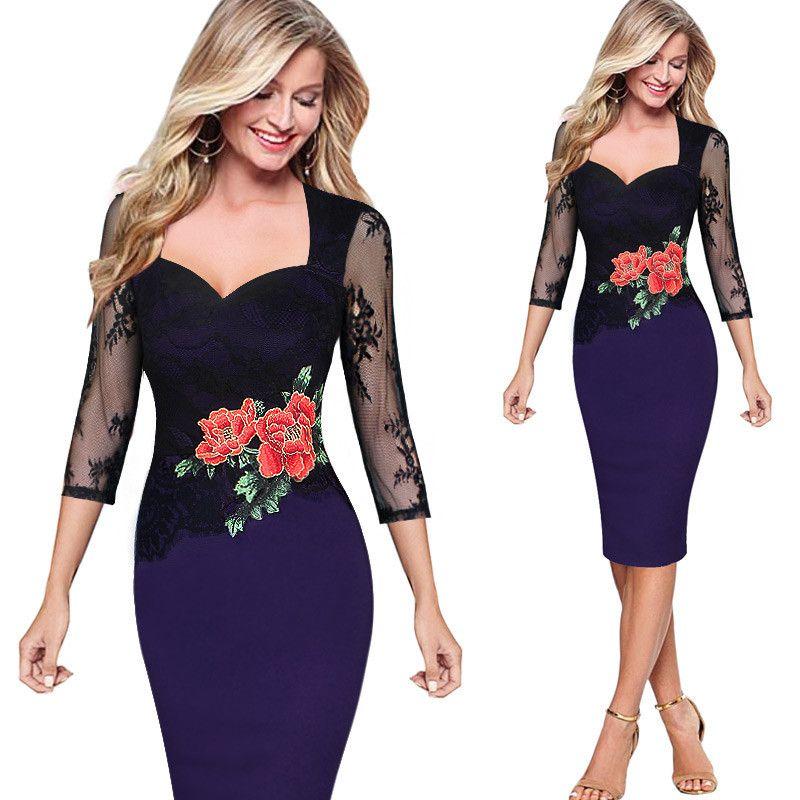 Yeni Yaz Işlemeli Dantel Çiçek Seksi Elbiseler Kadınlar Akşam Parti Anne Gelin Bridemaid Bodycon Kalem Elbise kadın