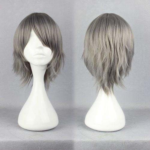 MCOSER Anime Hitman Reborn Gokudera Hayato 32cm Breve parrucca diritta grigia moda parrucca Cosplay Spedizione gratuita