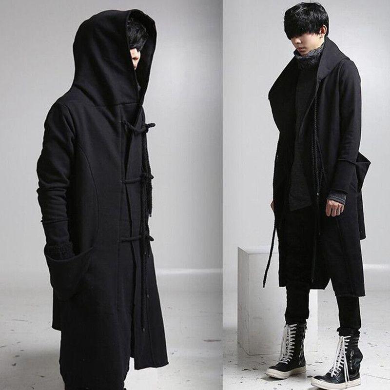 Wholesale- 망 캐주얼 양모 코트 후드 패션 긴 트렌치 코트 남자 힙합 블랙 긴 코트 까마귀 자켓