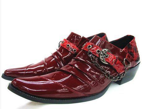 Zapatos Hombre Red Man's Shoes, Scarpe da sposa per uomo, scarpe a punta con tacco alto, scarpe casual da uomo in pelle casual