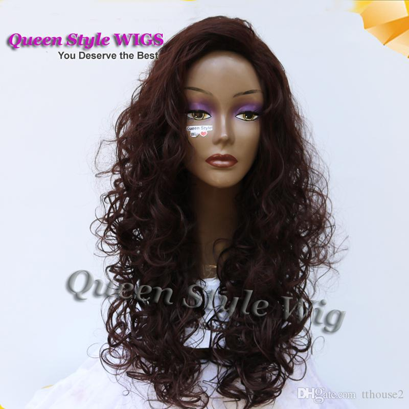 New Arrival Fluffy Medium Curly Long Big Fringe Hairstyle Wig Medium Brown Color Roll Glue Type Hair Costume Wigs for Black Women