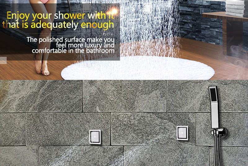 hm LED Rain Shower Set with 2 Lights with Handshower Body Jet Massage Thermostatic Mixer Bathroom Ceiling (11)