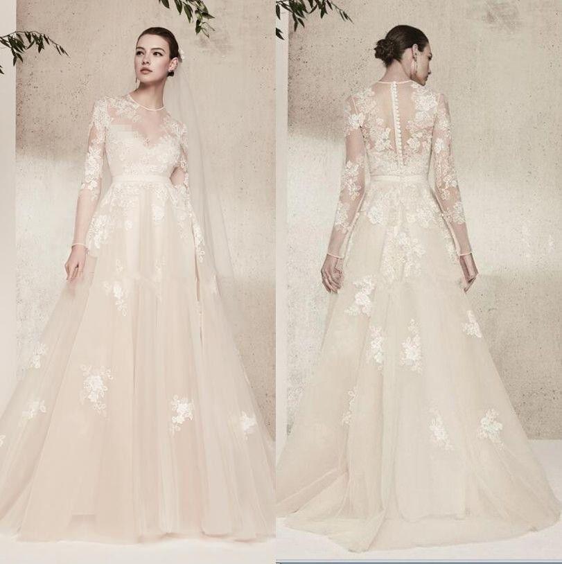 Elie Saab Wedding Dresses.Discount Long Sleeves Elie Saab Cream Lace Wedding Dresses Vintage Illusion Jewel Neckline Formal Wedding Recepiton Bridal Gowns Wedding Dresses Brand