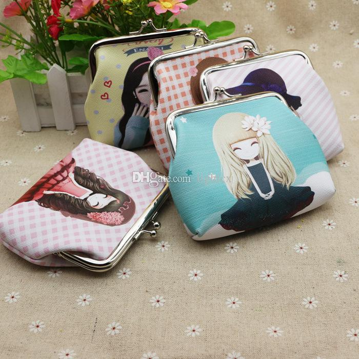 PU leather cartoon characters women coin purse wallet ladies mini colorful Purse money pouch bag bolso mujer bolsa feminina for girls