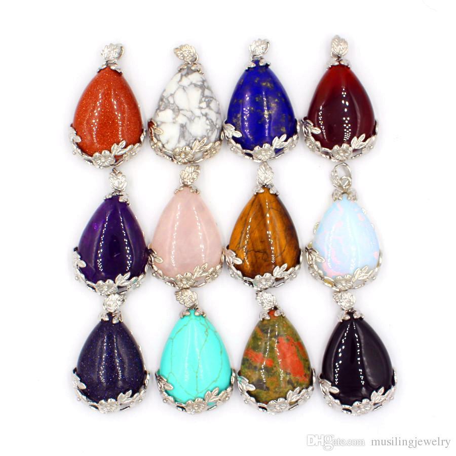 Water Drop Pendants Pendulum Necklace Chain Women Jewelry Natural Gem Stone Pendant Energy Balance Reiki Pendulum Charms Jewelry