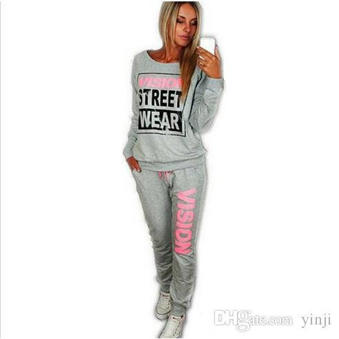2017 New female PiNK Vision Street Wear Print Women's Tracksuits O-Neck Sport Suit Set Jogging Suits For Women Two Pieces Sportswear