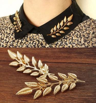 Europa und die Vereinigten Staaten Mode Feine Brosche Hochwertigen Blätter Kragen Pin