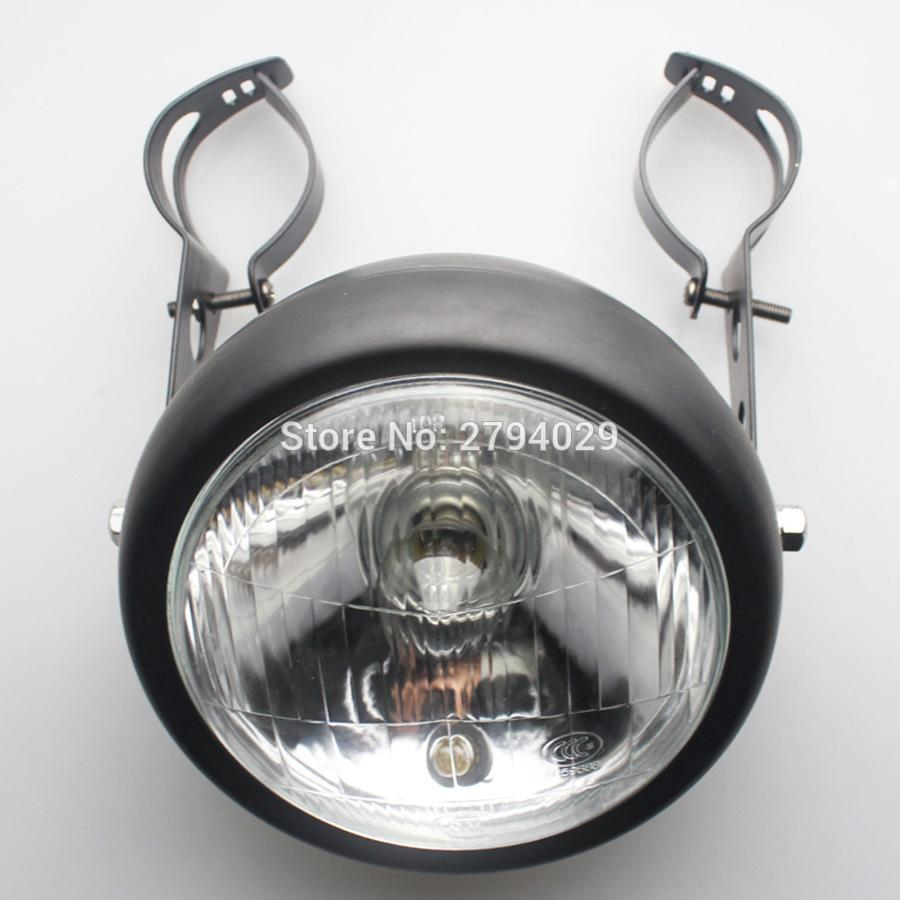 Free Shipping Motorcycle Custom Black Metal Retro Halogen Headlight with Mounting Bracket Fits For Honda CG125 GN125 Harley Cafe Racer