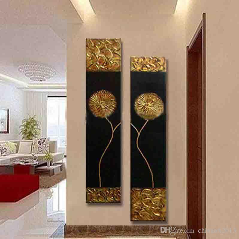 Ücretsiz Kargo El Büyük dikey Dokulu Duvar Dekoratif Tuval Art Boyama Modern Soyut Altın siyah Yağı Boyalı