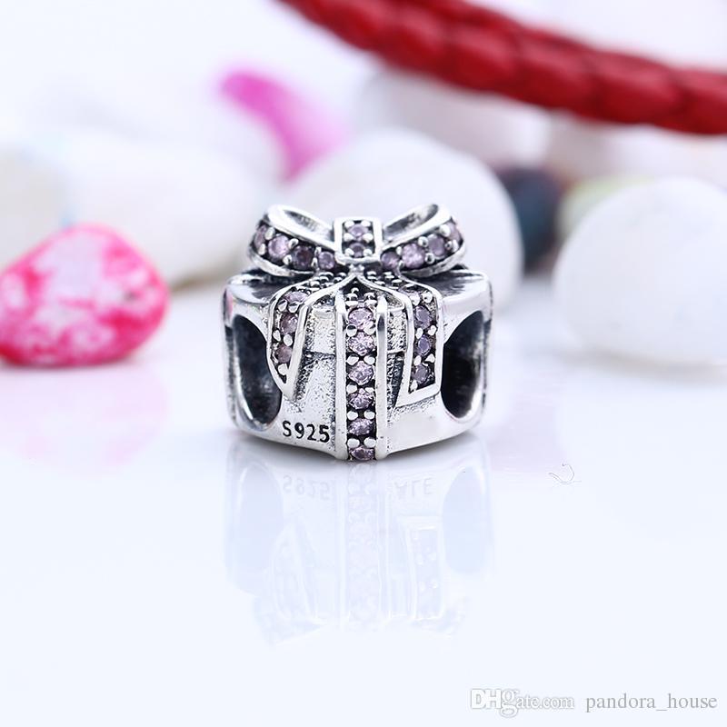 Nouveau Réel 925 En Argent Sterling Non Plaqué Coeur cadeau CZ Charmes Charmes Européens Perles Fit Pandora Bracelet Bijoux DIY
