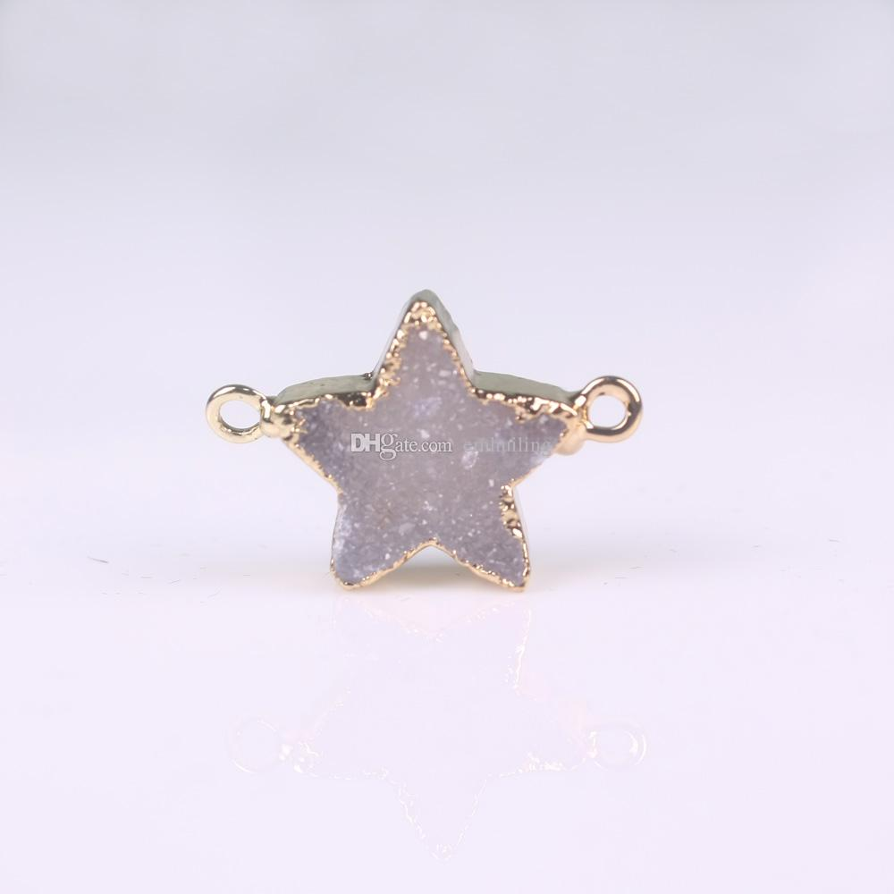 Gold Five-Pointed Stars Nature Bezel High Quality White Agate Stone Druzy Drusy Geode Connector Precious Stone Fit Charms Bracelet Finding