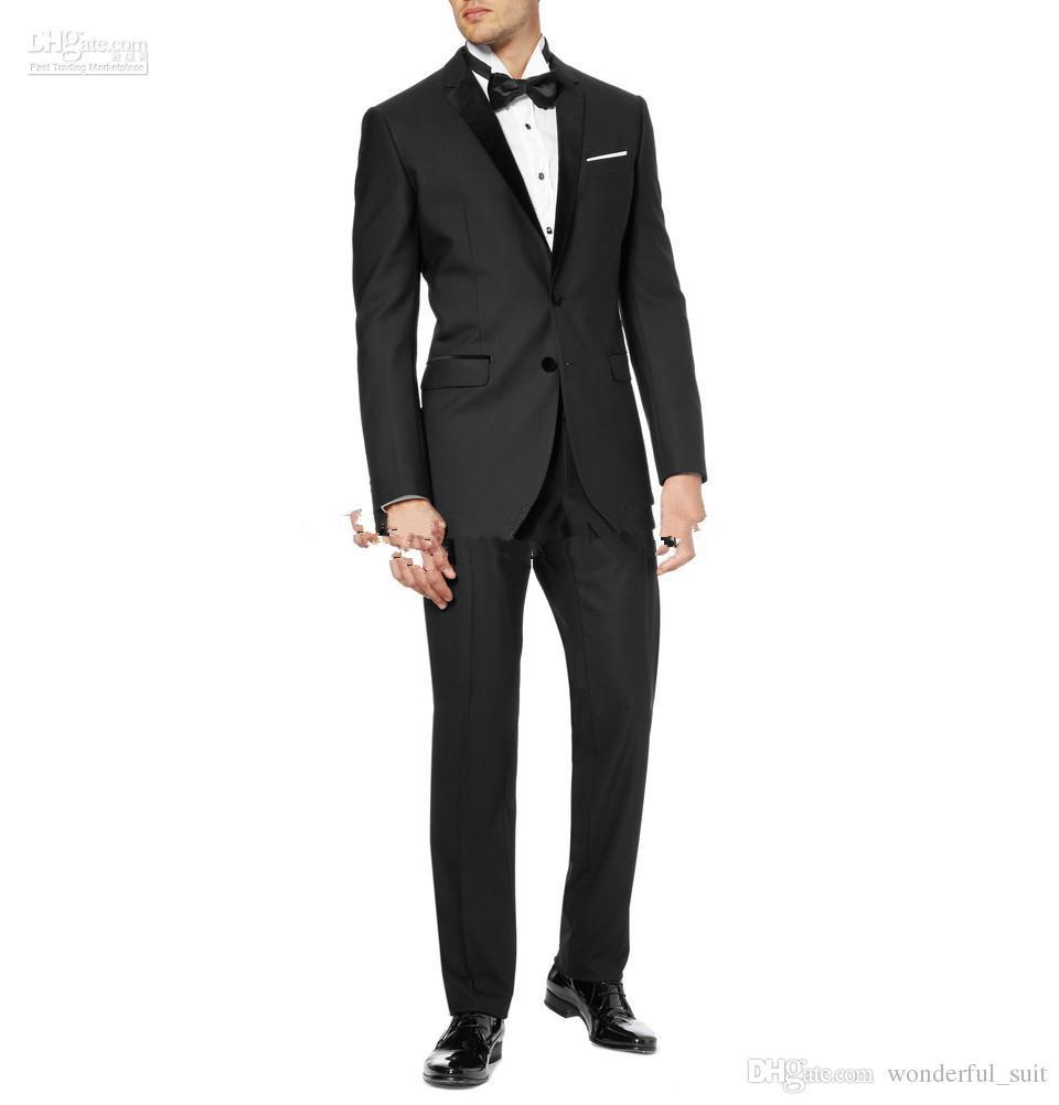 Custom-made Black Groom Tuxedos Notch Lapel Best Man Suits (Jacket+Pants+Tie+Waistband) G514