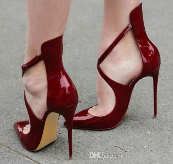 Elegante 2017 Nuevo punta estrecha Office Lady tacones altos del partido del estilete Zapatos Mujer Cross-tied Borgoña Patentes de cuero bombas de las mujeres