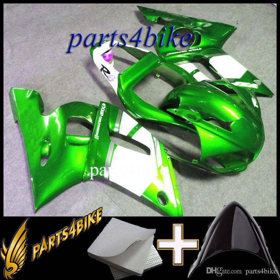 XMT-MOTOR Parabrezza per Moto Adatto per Yamaha YZF-R6 2006-2007 Trasparente