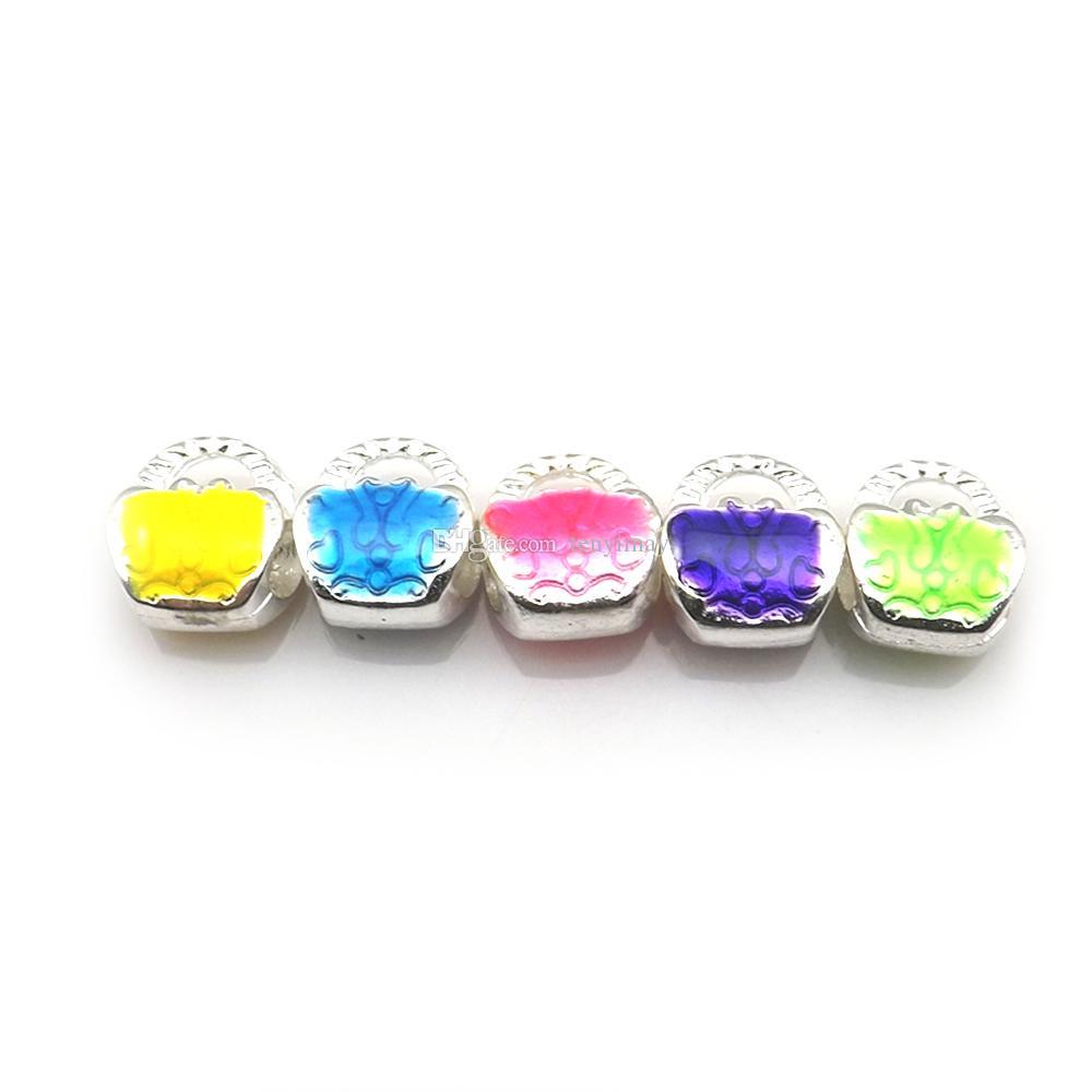 Silberton Handtasche Form European Beads Emaille Charm Beads Fit Schmuck DIY