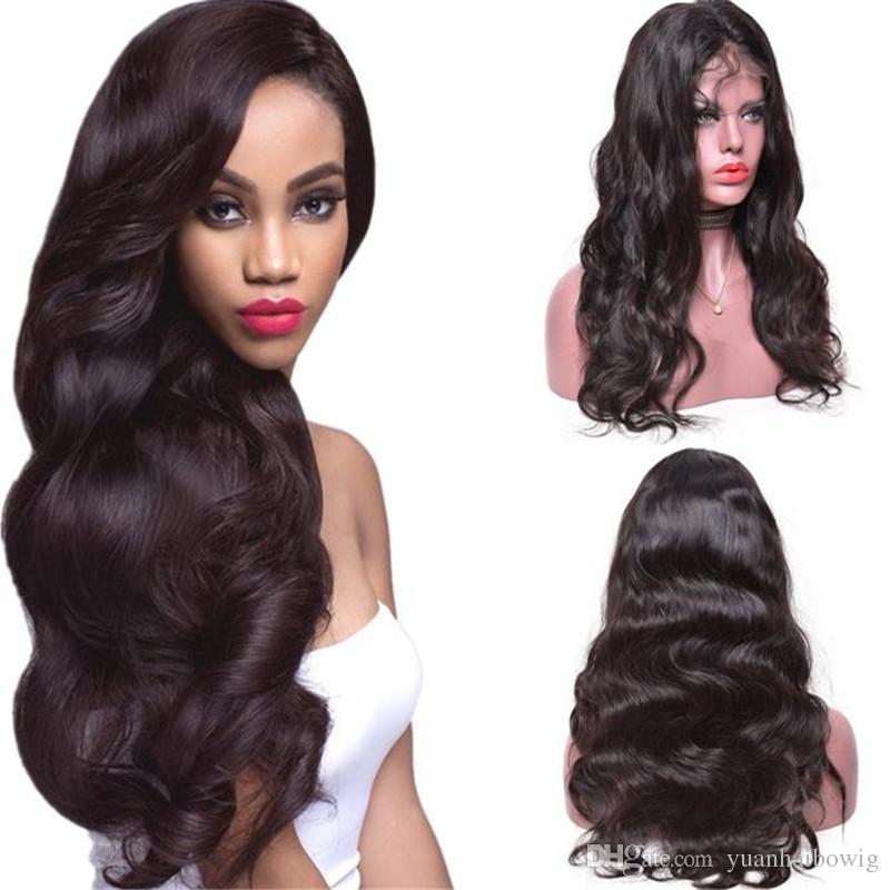 بيع كبير شعر الإنسان الباروكات الجسم موجة اللون الطبيعي العذراء الهندي الرباط الجبهة الباروكة يمكن صبغ حرية الملاحة