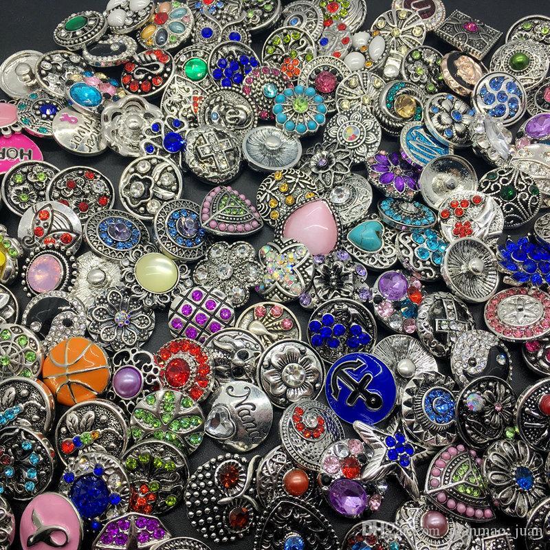 Оптовая продажа 50 шт. / лот смешать много стилей 18 мм горный хрусталь Оснастки кнопка Fit Noosa 18 мм щелкает кусок кнопки имбирь щелкает ювелирные изделия