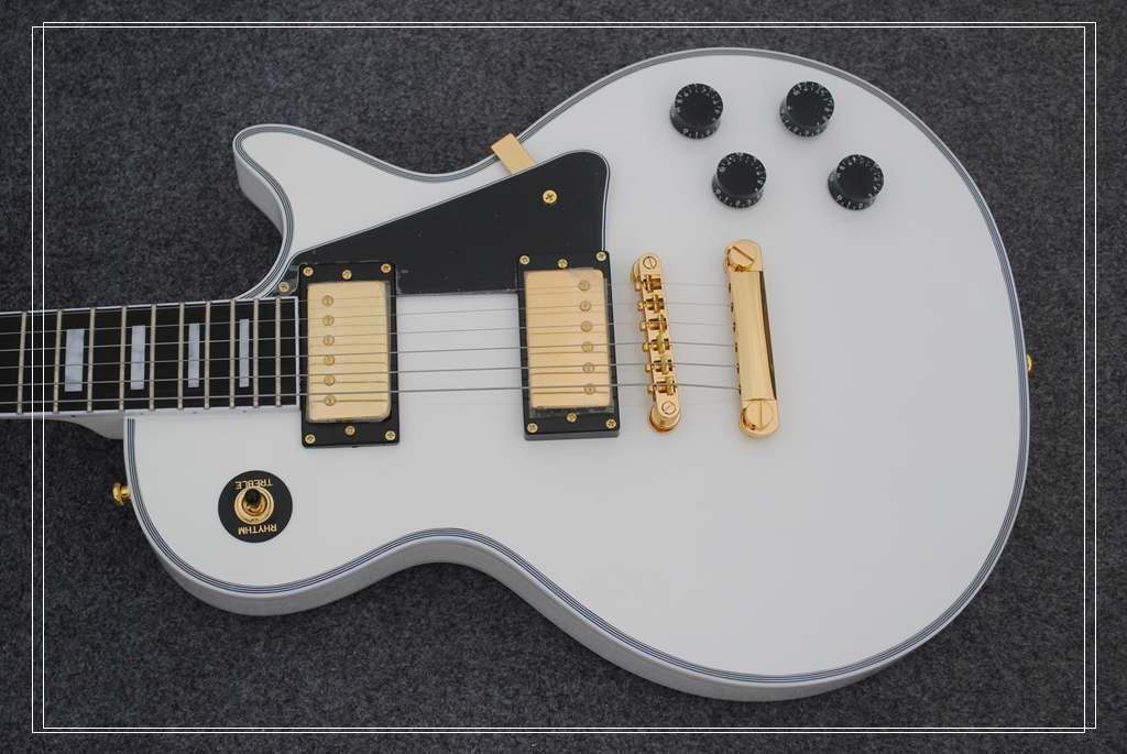Бесплатная доставка Оптовая OEM ручной гитары, белый цвет пользовательские электрогитары, черное дерево гриф, горячий продавать