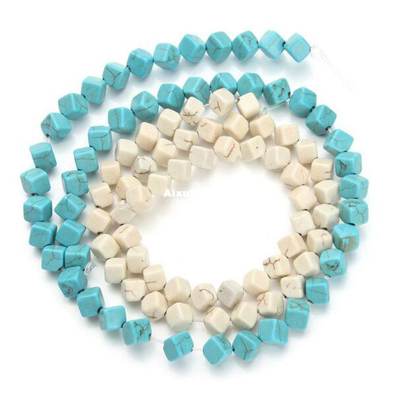 Approx.49pcs/pack 0.6cm*0.6cm Square Loose Spacer Seed Beads Blue White Turquoises Beads Jewelry Making Craft Material DIY