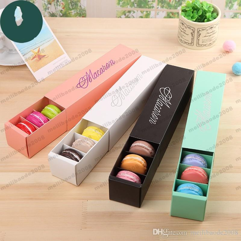 Macaron Box Cake Box Biscuit Muffin Box 20.3 * 5.3 * 5.3cm Black Blue Green Bianco 4 Color New Hot Myy