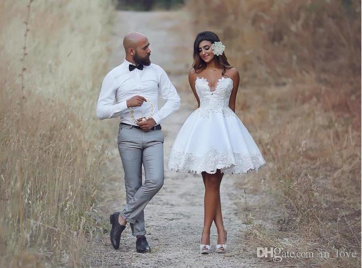 Fashion Design Short Wedding Dresses Swxy Sweetheart Appliques Lace Satin Mini A Line 2020 Bridal Gowns Custom Size