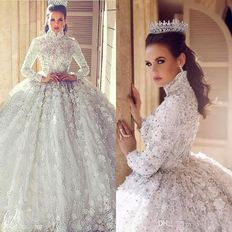 Великолепные стразы мусульманские свадебные платья высокой шеи с длинным рукавом аппликация кружева бальное платье свадебные платья сверкающие бисерные свадебные платья