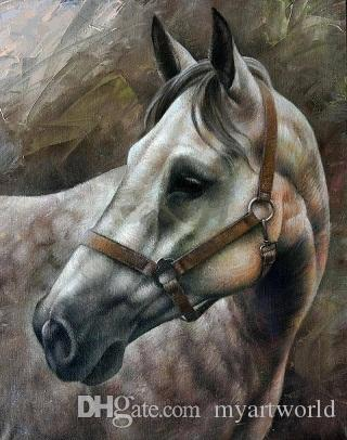 Framed Animals White Horse,genuine Pure Handpainted Animal Art oil Painting On Thick Canvas Multi sizes Available Free Shipping MY278 ny