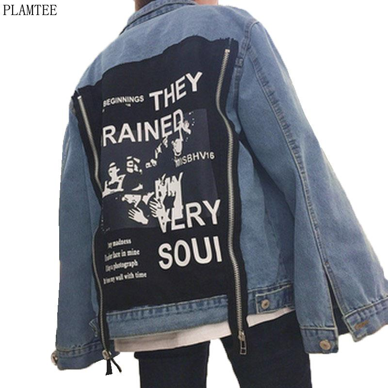 Wholesale- Harajuku Bomber Jacket Women Aufnäher Designs Denim Mäntel Female Fashion lose Jeans Mäntel Chaquetas Mujer Cardigans Jeansjacken