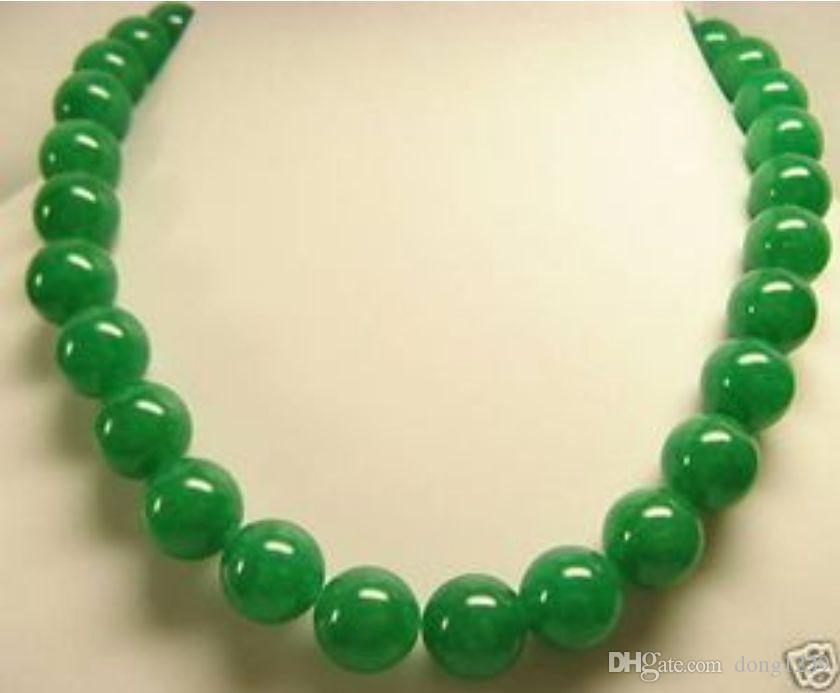 "Schöne grüne Jade 14mm Perlen Halskette 18 ""AAAAR"