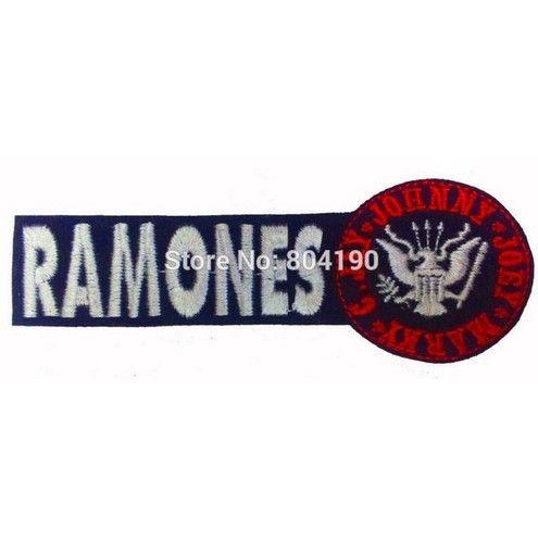 "4.5 ""RAMONES 로고 음악 밴드 수 놓은 NEW IRON ON과 SEW ON Patch Rock 펑크 중금속 맞춤 디자인 패치 이용 가능"