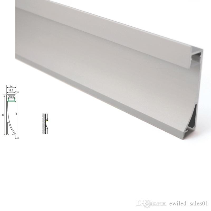 10 X 1M sets/lot good quality aluminium led profile and Anodized silver led channel housing for recessed Wall lights
