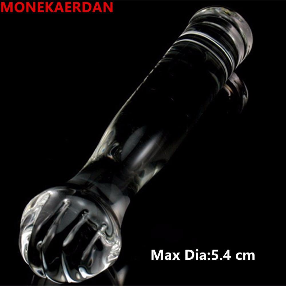 Ogromne wibratory Duży szklany Penis Anal Butt Plug Odbytek Rozwiń Fist Sex Zabawki Dorosłych Produkty dla kobiet i mężczyzn Gay - 22 * 5,4 cm 17905