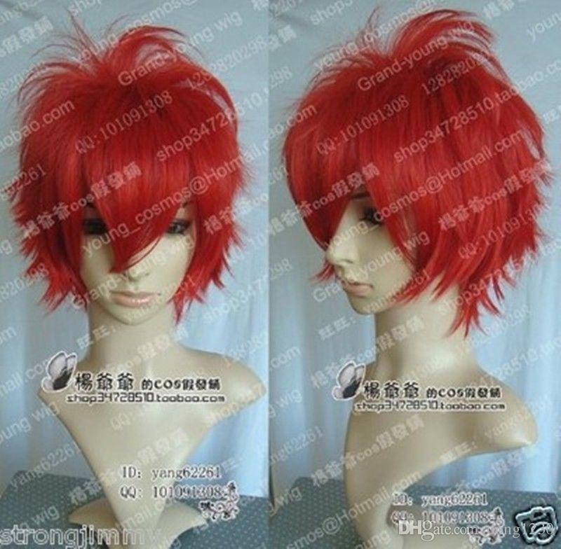 100% Yepyeni Yüksek Kalite Moda Resim tam dantel wigsHot Satmak! Yeni Moda güzel Kısa Kırmızı Cosplay Parti Peruk W010 Ücretsiz Kargo