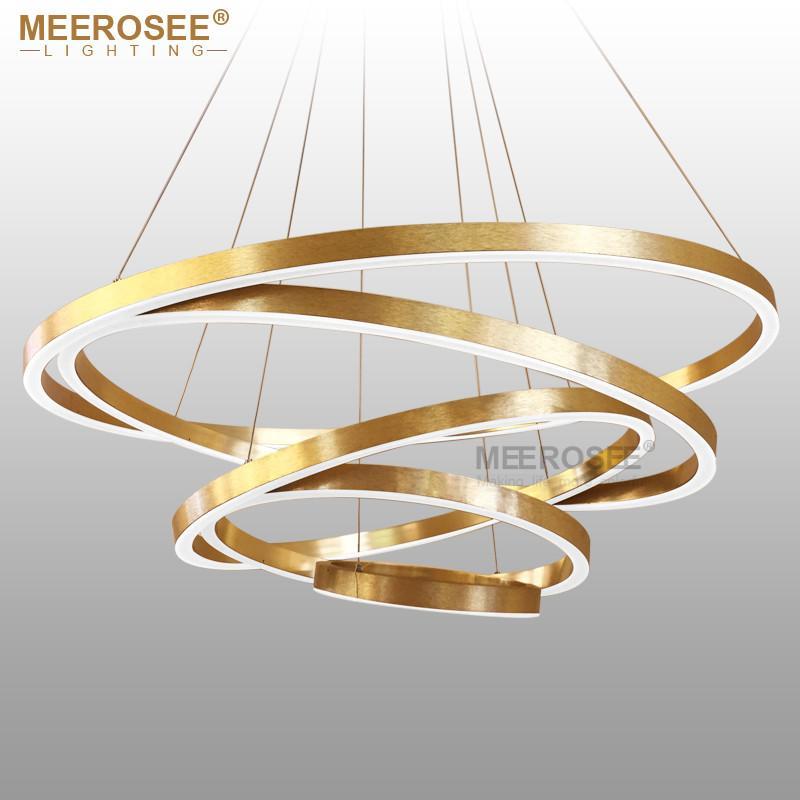Large Rings LED Pendant Lights Gold Hanging Lamp for Restaurant Pendant Lamp Acrylic Circle Lampadario Lustres Lighting