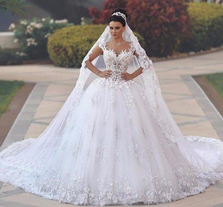 Compre Vestidos De Novia Sexy See Through Bodice Vestido De Novia Royal Tail Flowers Luxury Wedding Gowns 2017 Vestidos De Novia Bruidsjurken A
