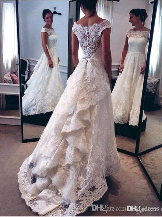 .Lace Haute Basse Robes De Mariée 2017 Mode Sheer Cap Manches Custom Made Robes De Mariée De Chine Robe De Noiva Com Renda