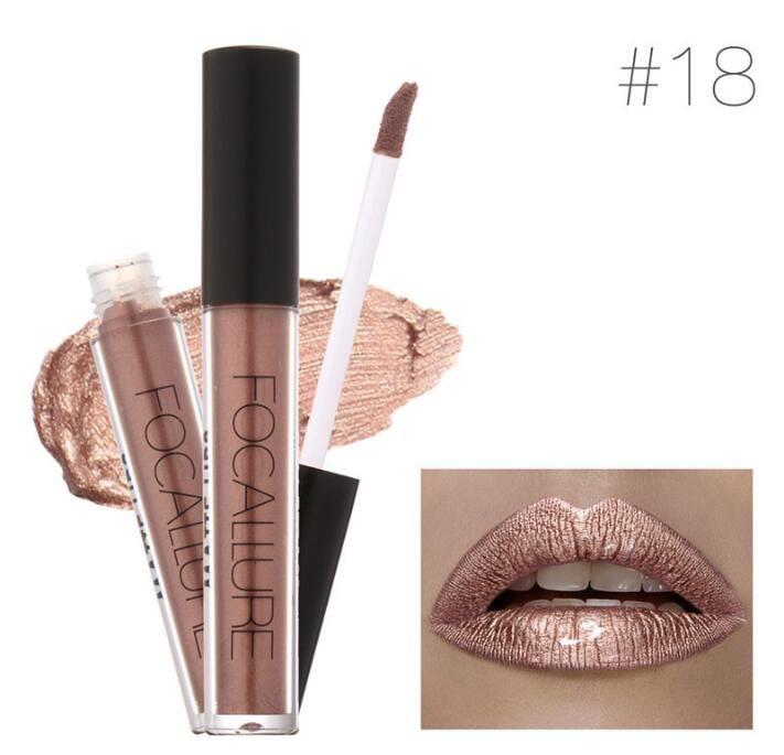 hot brand focallure metallic lipstick waterproof makeup batom long lasting glitter lipgloss matte metal lipstick liquid