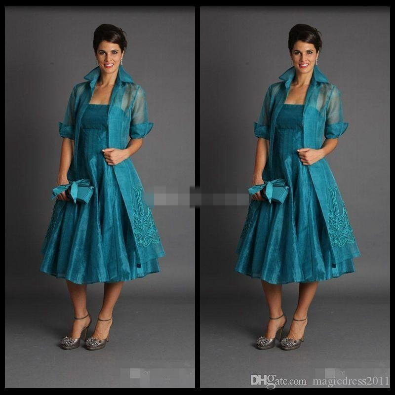 Plus Size 2019 Short Mother Of The Bride Jacket Dresses Sleeveless Tea  Length Green Suits Evening Gowns Cheap Organza Petite Mother Of The Groom  ...