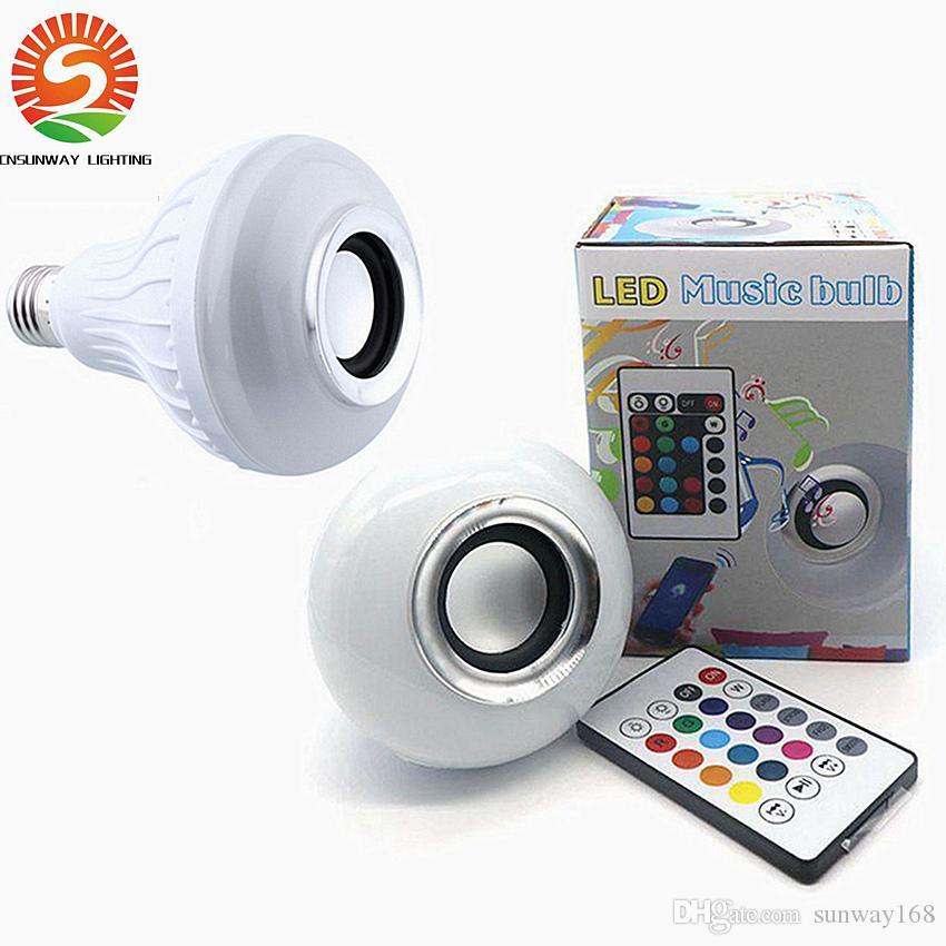 LED Bluetooth 12W Altoparlante wireless a LED senza fili Lampadina audio Altoparlante Musica da gioco Illuminazione con 24 tasti E27 Telecomando Spedizione gratuita DHL