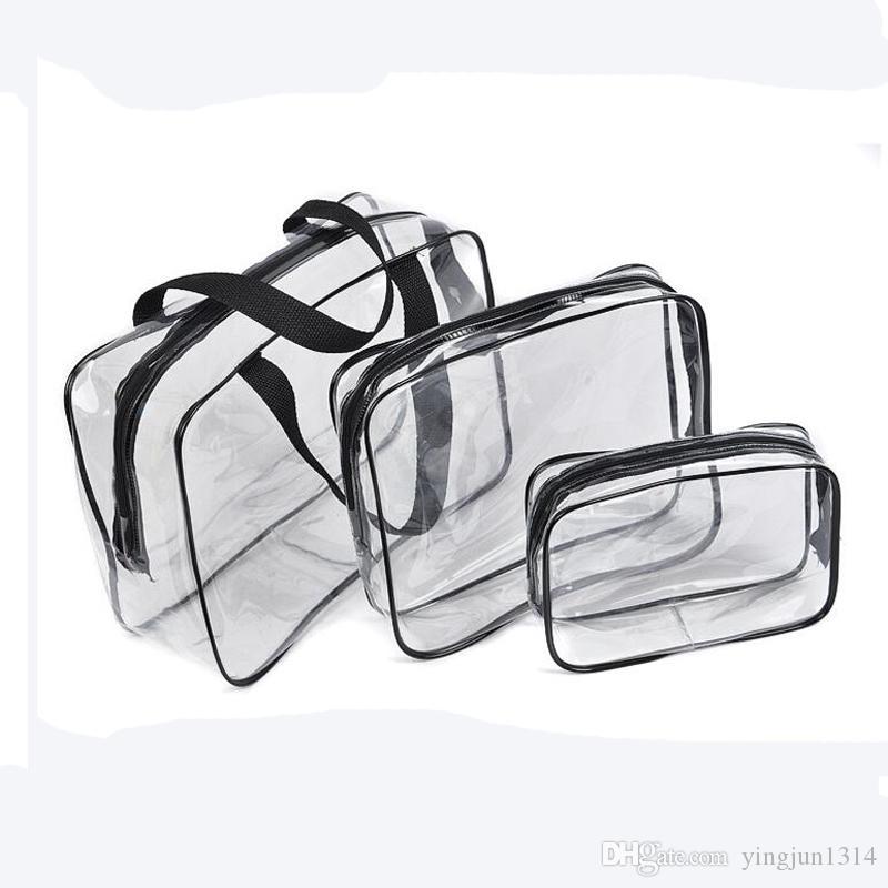 3Pcs/set Cosmetic Bag Set Fashion Transparent Beauty Bag Waterproof Handbags Wash Bags Ladies Make Up Bag